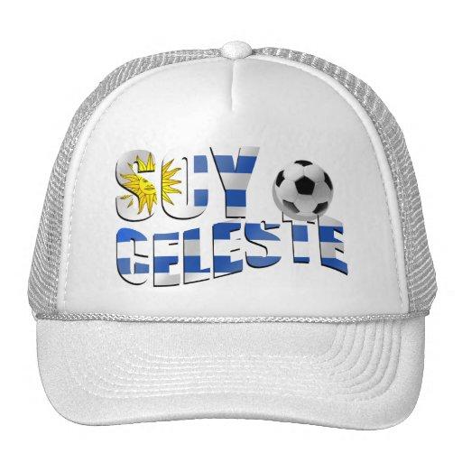 Soy Celeste Uruguay flag Futbol soccer ball logo Trucker Hat