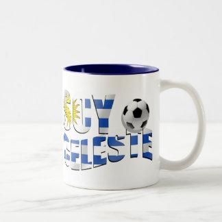 Soy Celeste Uruguay flag Futbol soccer ball logo Two-Tone Coffee Mug