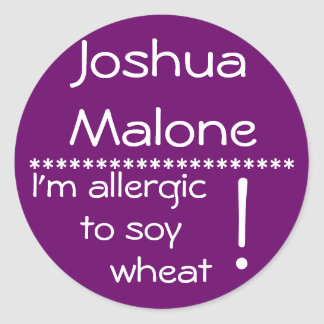 Soy Wheat Allergy Label Round Sticker