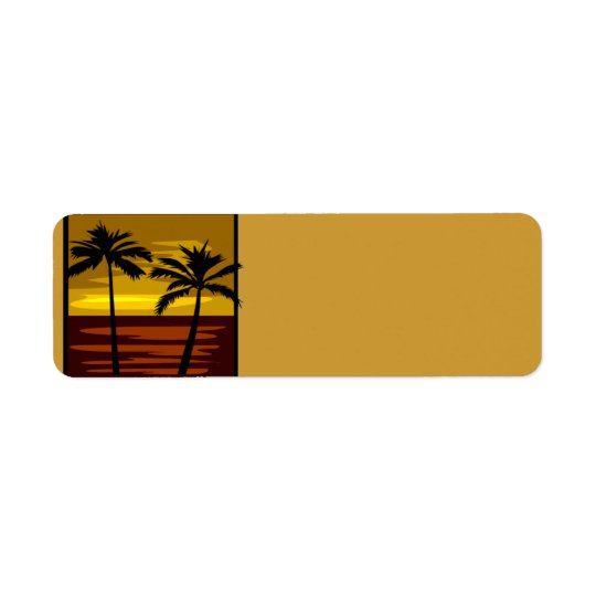 SP010  RETRO BROWNS GOLDS SUNSET PALM TREES LOGOS RETURN ADDRESS LABEL