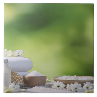 Spa and Wellness Utensils in a tropical garden Large Square Tile
