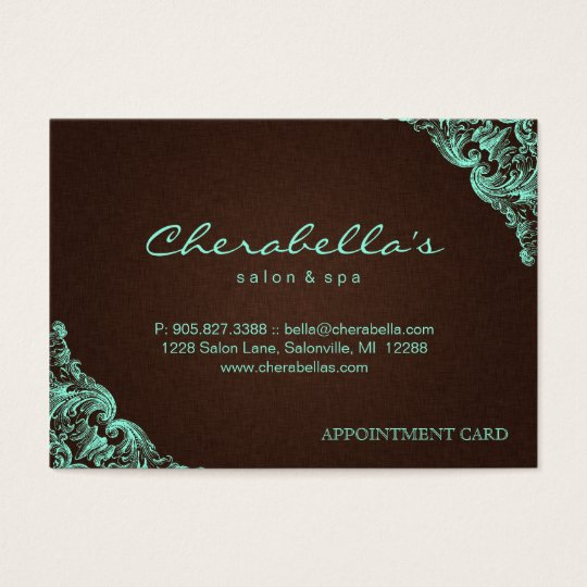 Spa Appointment Card Spa Linen Brown Mint
