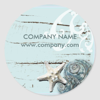 SPA aqua blue beach wood starfish seashells Classic Round Sticker