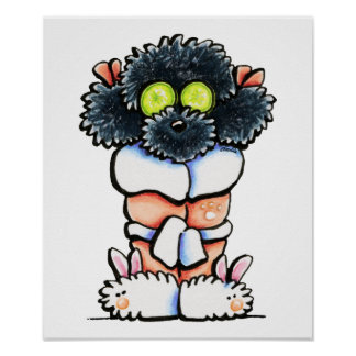 Spa Black Poodle Poster