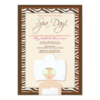 """Spa Day Bridal Shower Invitation (peach) 5"""" X 7"""" Invitation Card"""