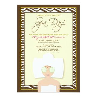 "Spa Day Bridal Shower Invitation (yellow) 5"" X 7"" Invitation Card"