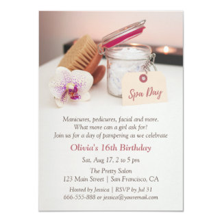 Spa Day Girls Birthday Party Invitations