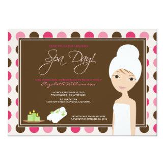 Spa Day Polka-dots Bridal Shower Invite (pink)