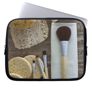 Spa detail of sponges and brushes laptop sleeve