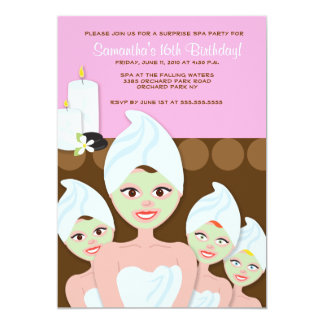 SPA Girls PARTY Birthday or Bridal Shower 5x7 13 Cm X 18 Cm Invitation Card
