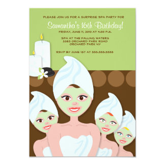 SPA Girls PARTY Birthday or Bridal Shower 5x7 Card