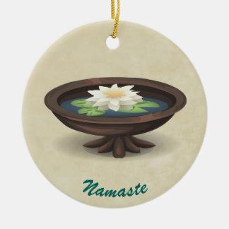 Spa Lotus Wooden Pool TEXT NAMASTE Round Ceramic Decoration