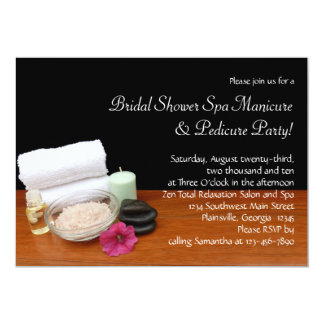 Spa/Massage/Pedicure Salon Scene Black/Color 13 Cm X 18 Cm Invitation Card