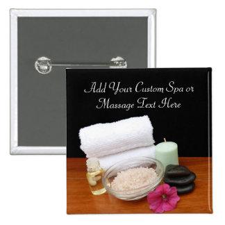Spa/Massage/Pedicure Salon Scene Black/Color 15 Cm Square Badge