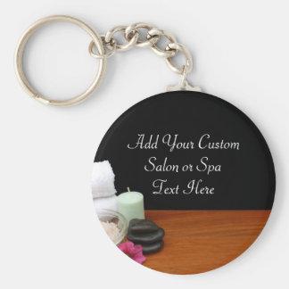 Spa/Massage/Pedicure Salon Scene Black/Color Basic Round Button Key Ring