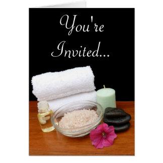 Spa Massage Pedicure Salon Scene Black Color Card