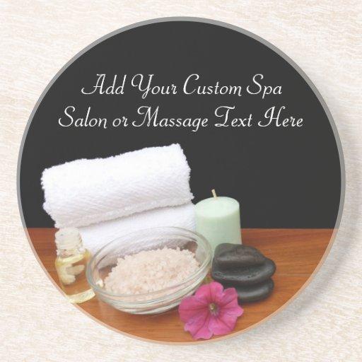 Spa/Massage/Pedicure Salon Scene Black/Color Beverage Coaster