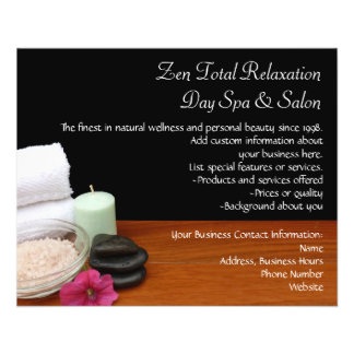Spa/Massage/Pedicure Salon Scene Black/Color Full Color Flyer