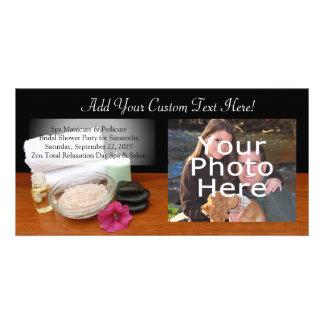 Spa/Massage/Pedicure Salon Scene Black/Color Personalised Photo Card