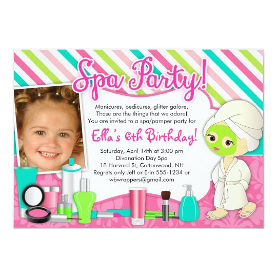 Spa / Pamper/ Glamour Party Invitations with Photo