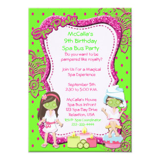 Spa Party Bus Birthday Party or Shower Invite