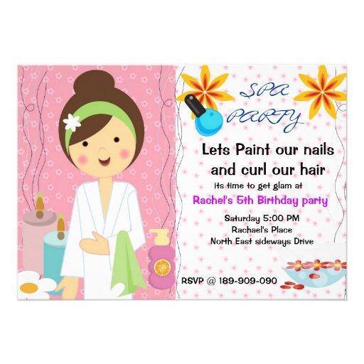 Spa Party girls birthday invitation