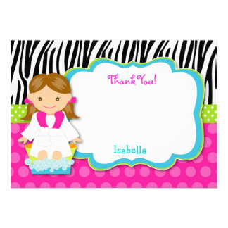 Spa Party Thank you note cards Announcement