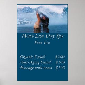 Spa price List Poster