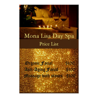 Spa price List Poster