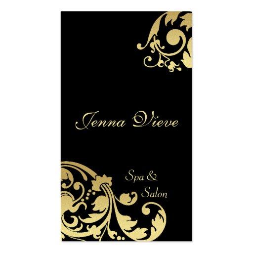 Spa & Salon Business Card Monogram Black & Gold