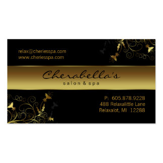 Spa - Salon Flower Elegant Gold Business Card