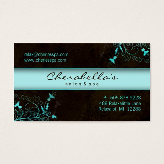 Spa - Salon Flower Elegant Turquoise Business Card
