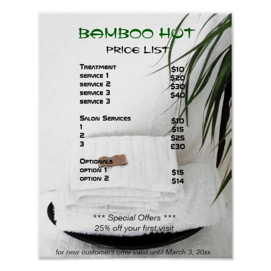 Spa Salon massage price list Poster