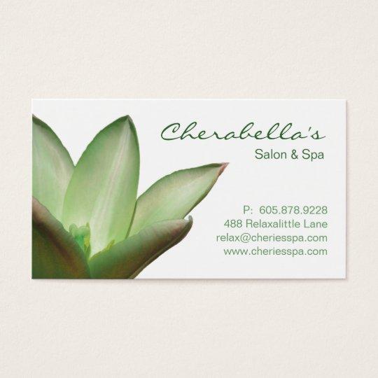 Spa - Salon Massage Therapy Business Card Green