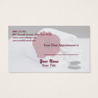 Spa Salon Massage Towels Hibiscus Appointment Card