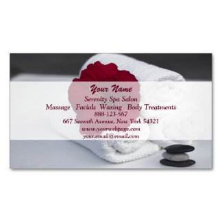 Spa Salon Massage Towels Hibiscus Magnetic Business Cards
