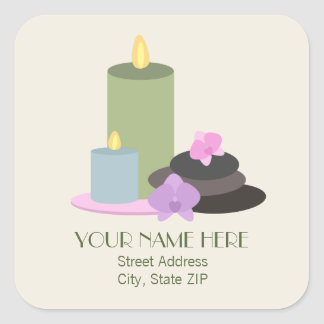 Spa Stones, Candles, Orchids Address Label Sticker