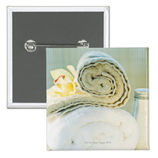 Spa towels and tropical flower 15 cm square badge