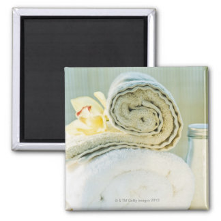 Spa towels and tropical flower square magnet