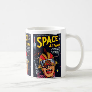Space Action #2 Vintage Sci Fi Comic Book Basic White Mug