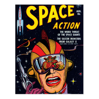 Space Action #2 Vintage Sci Fi Comic Book Cover Postcard