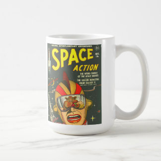 SPACE ACTION Cool Vintage Comic Book Cover Art Basic White Mug
