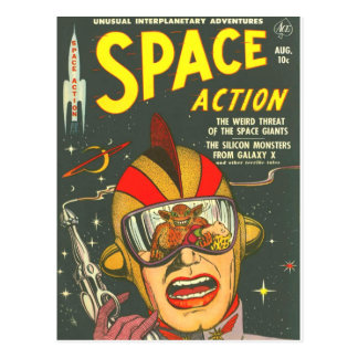 SPACE ACTION Cool Vintage Comic Book Cover Art Postcard
