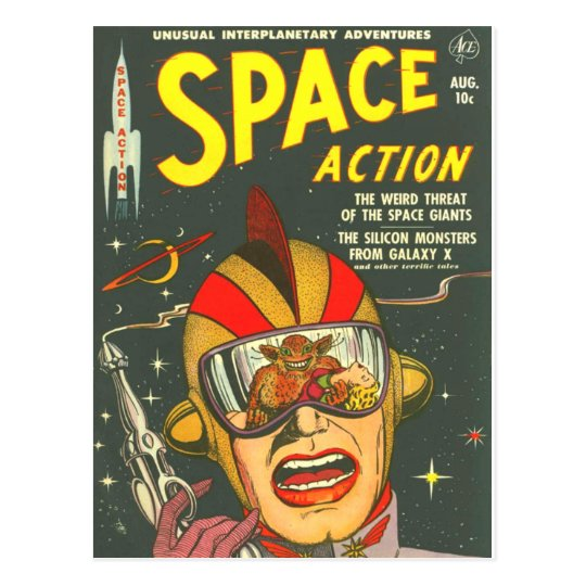 SPACE ACTION Cool Vintage Comic Book Cover Art