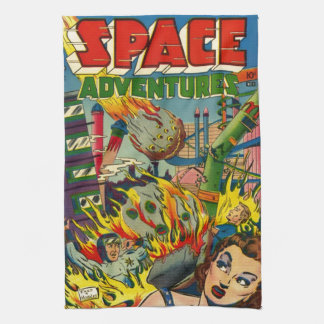 SPACE ADVENTURES RETRO COMICS TEA TOWEL