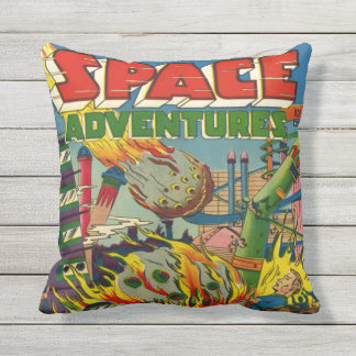 SPACE ADVENTURES SCI FI GRAPHIC ART OUTDOOR CUSHION