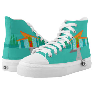Space Age Cartoon High Top Shoes
