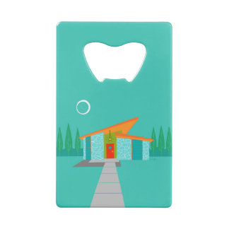 Space Age Cartoon House Credit Card Bottle Opener