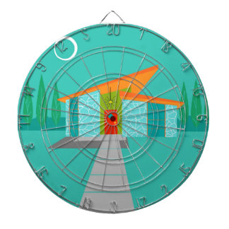 Space Age Cartoon House Dartboard