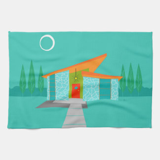 Space Age Cartoon House Kitchen Towel